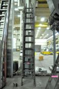 Lot-(1) 24' and (1) 18' Wood Extension Ladders