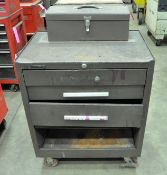 Lot-(3) Kennedy 3-Drawer Rolling Tool Chests with (1) Kennedy Flip Top Tool Tote Box