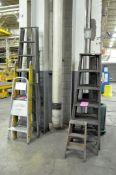 Lot-(5) Asst'd Wood Step Ladders and (1) 10' Fiberglass Folding Ladder