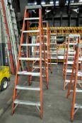Lot-(3) 8' Fiberglass and (1) 8' Wood Step Ladders