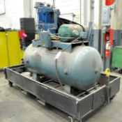 Quincy Model 350, 10-HP Horizontal Tank Mounted Air Compressor, S/n 625291LS, 3-PH, Mounted on