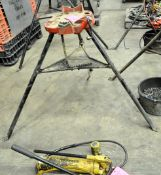 Lot-(2) Pipe Tri-Stands and (1) Stock Stand with (1) Oiler Pan