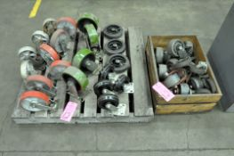 Lot-Asst'd Caster Wheels on (2) Pallets and (1) Collapsible Tub