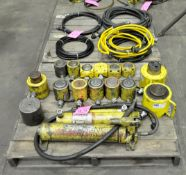 Lot-(2) Enerpac Hydraulic Pumps with Asst'd Cylinders and Hoses on (2) Pallets