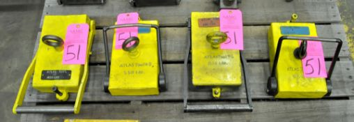 Lot-(1) 850-Lbs., (2) 550-Lbs. and (1) 400-Lbs. Capacity Crane Stock Magnets, Manual Release Type