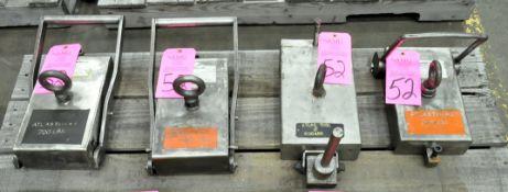 Lot-(1) 850-Lbs., (1) 700-Lbs., (1) 650-Lbs. and (1) 200-Lbs. Capacity Crane Stock Magnets, Manual