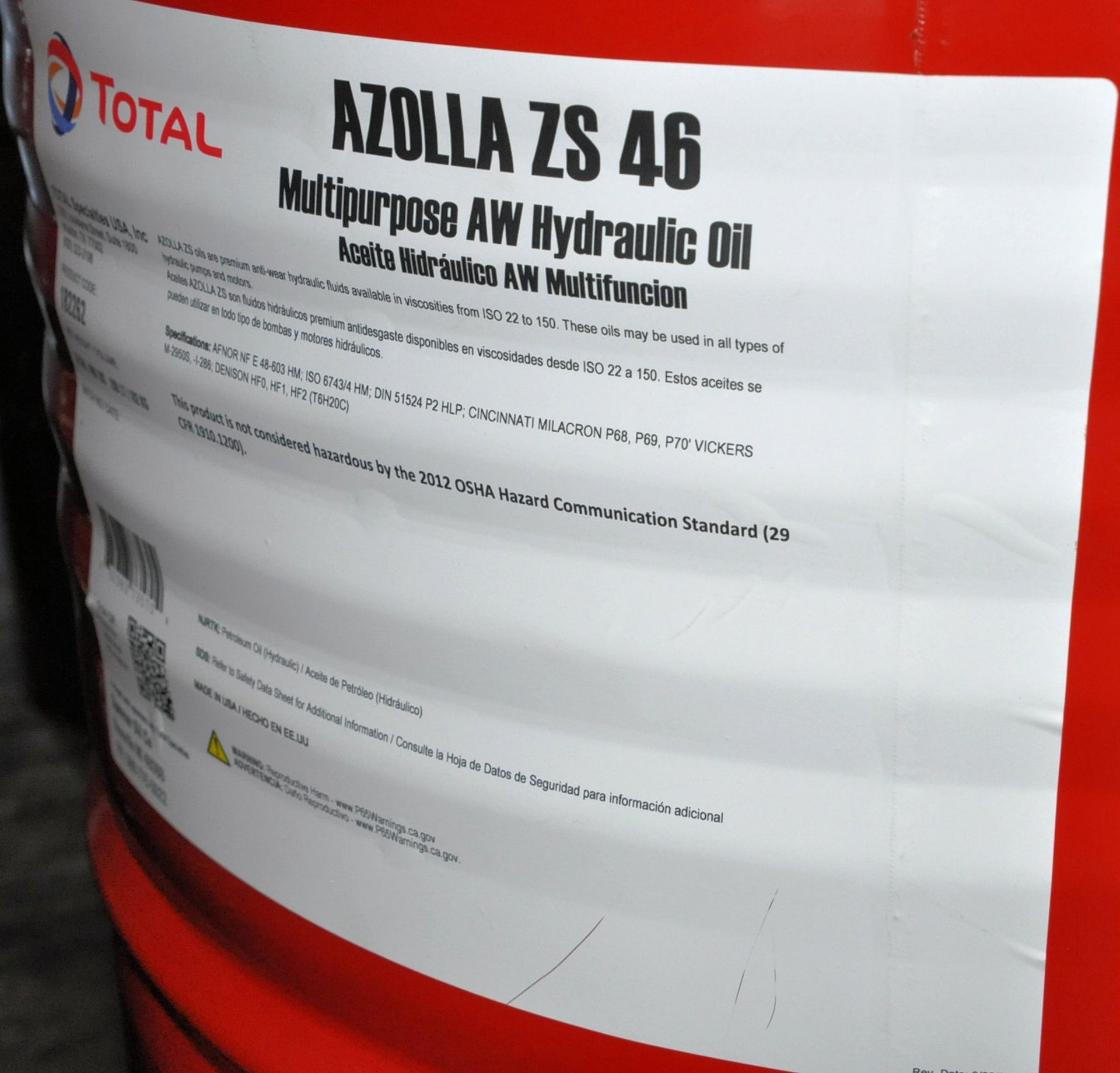 Lot-(2) 55-Gallon Drums of Total Azolla ZS 46 Multipurpose AW Hydraulic Oil on (1) Pallet, (Oils - Image 2 of 2