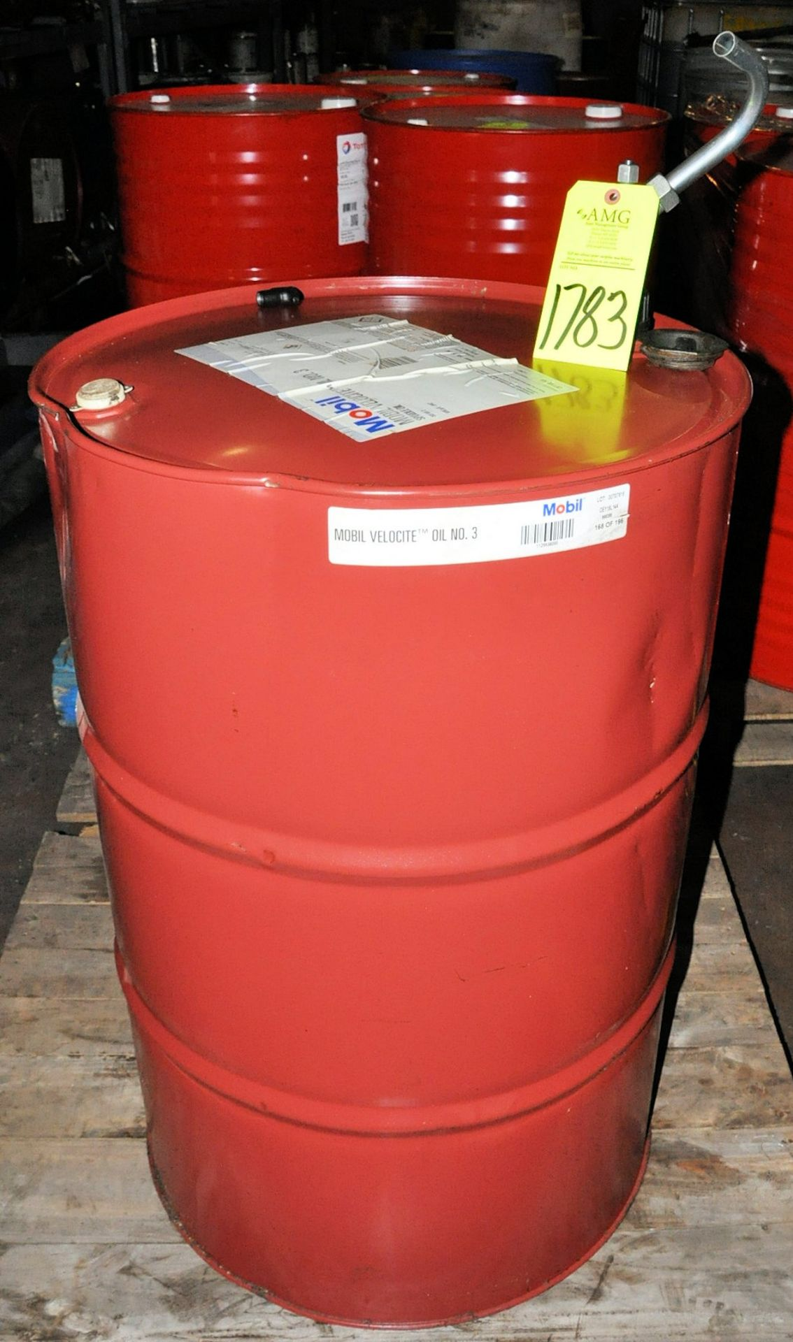 55-Gallon Drum of Mobile Velocite No. 3 Sopindle Oil on (1) Pallet, (Oils Storage Building), (Yellow