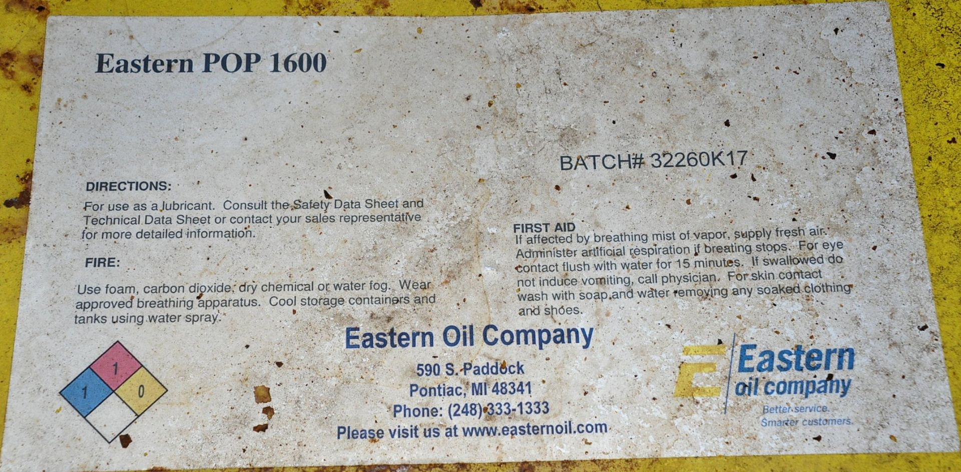 Lot-(2) 55-Gallon Drums of Eastern POP 1600 Paraffinic Process Oil, (Oils Storage Building), (Yellow - Image 2 of 2