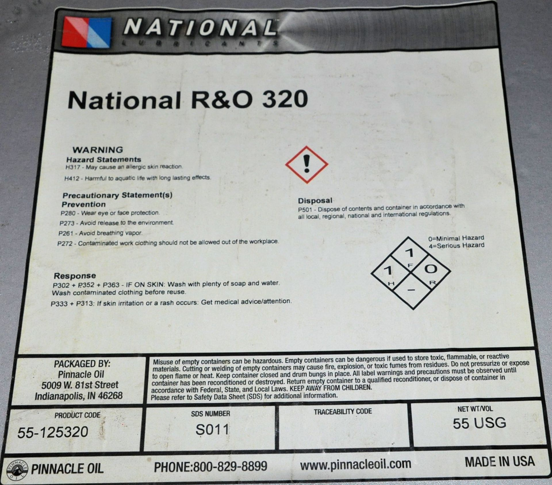 Lot-(3) 55-Gallon Drums of National R & O 320 Lubricating Oil on (1) Pallet, (Oils Storage - Image 2 of 2