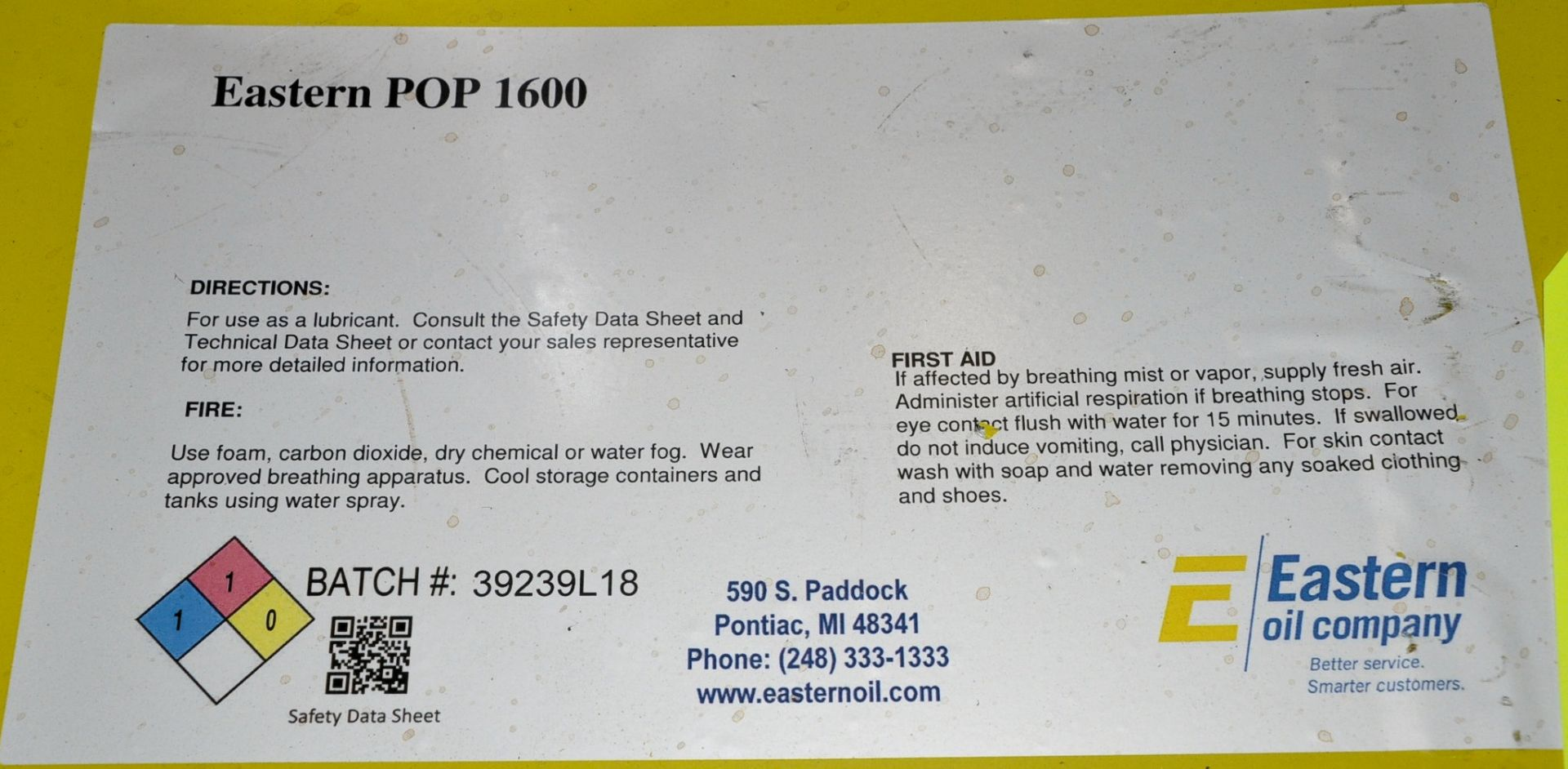 Lot-(3) 55-Gallon Drums of Eastern POP 1600 Paraffinic Process Oil, (Oils Storage Building), (Yellow - Image 2 of 2
