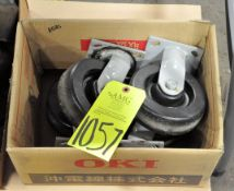 Lot-(4) Industrial Casters in (1) Box on Floor Under (1) Table), (E-7), (Yellow Tag)