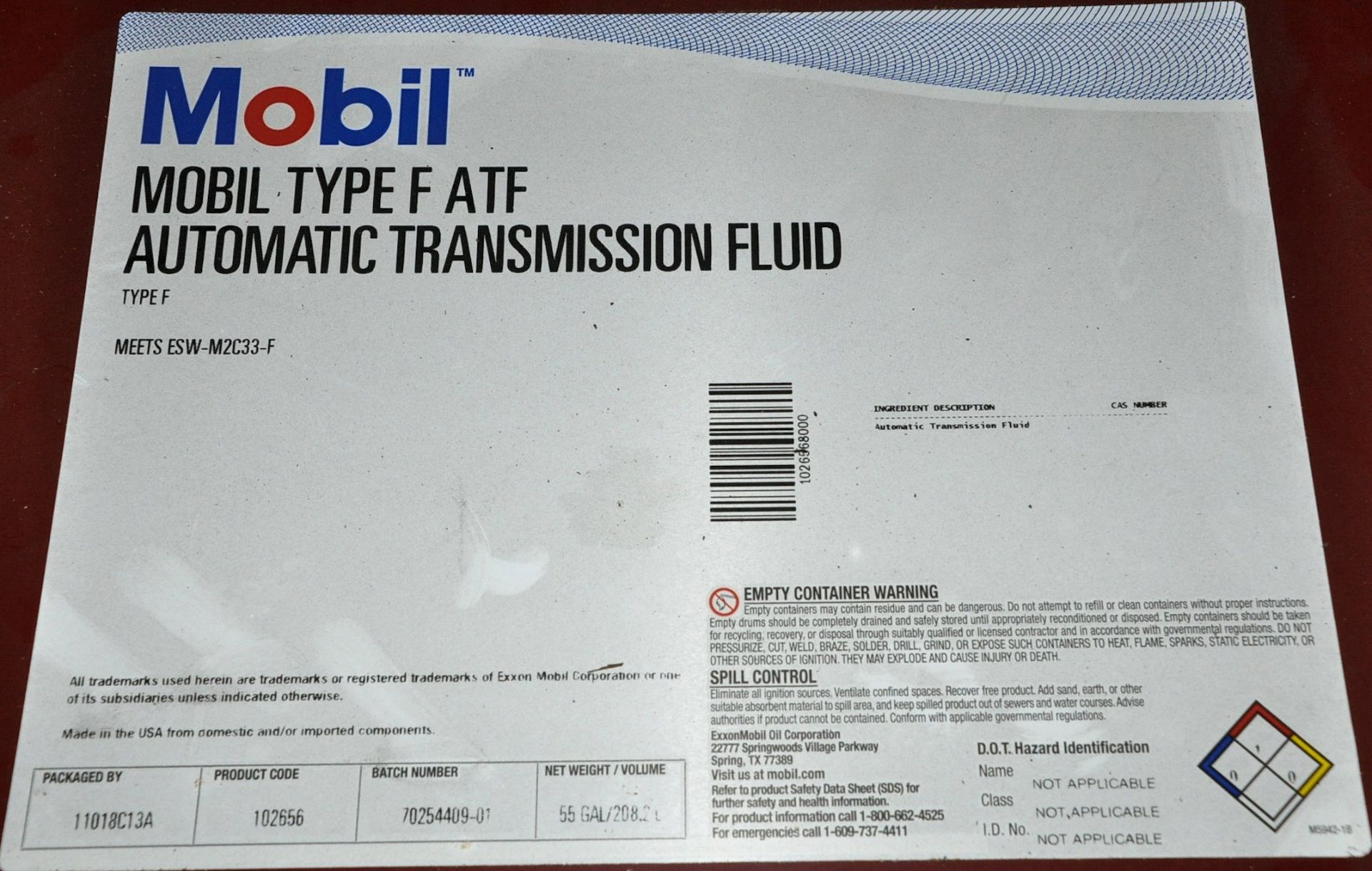 55-Gallon Drum Mobil Type F Automatic Transmission Fluid, (Oils Storage Building), (Yellow Tag) - Image 2 of 2