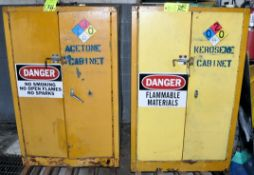Lot-(2) 2-Door Drum Storage Safety Cabinets with Riser Pallets, (Oils Storage Building), (Yellow