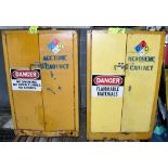 Lot-(2) 2-Door Drum Storage Safety Cabinets with Riser Pallets, (Oils Storage Building), (Yellow