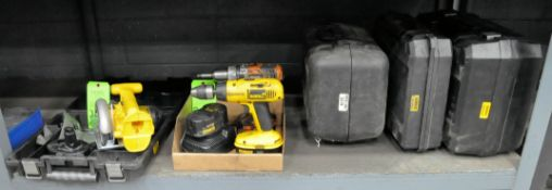 Lot-DeWalt 18-Volt Cordless Drill and Circular Saw with (3) Batteries, (1) Charger, and Case in (1)