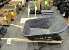 Lot-Wheelbarrow, Rag Safety Can, Seed Spreader, (2) Paint Line Stripers, and (1) Box of Vacuum Attac