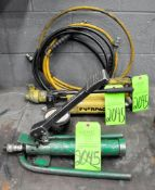 Lot-(1) Greenlee 1725 and (2) Enerpac Portable Hydraulic Pumps with Hose, (G-20), (Green Tag)