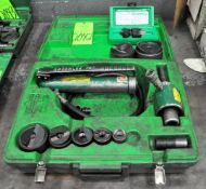 Lot-(1) Greenlee 767 Hand Held Hydraulic Pump Knockout Set with Case and (1) Greenlee D-Subminiature