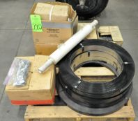 Lot-Steel Banding, Banding Clips and Stretch Wrap on (1) Pallet, (F-17), (Green Tag)