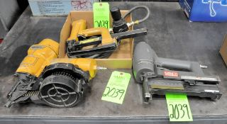 Lot-(1) Senco and (1) Bostitch Pneumatic Box Stapler Guns in (1) Box with (1) Stanley Pneumatic Roof