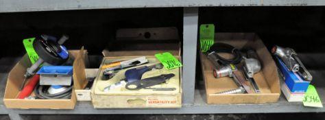 """Lot-(1) Belton 3/4"""" Pneumatic Belt Sander, (2) Pneumatic Belt Sanders in (1) Box, (1) Dynafile Pneum"""