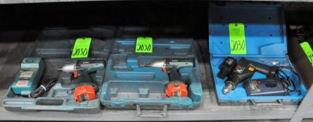 Lot-(1) Bosch 7.2-Volt Cordless Drill with (1) Battery, Charger and Case, (2) Makita 12-Volt Cordles