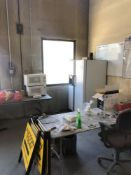 LOT: Contents of Lunch Room Area- Fridge, (2) Microwaves, (2) Tables, and Chairs