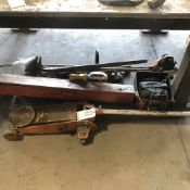 LOT: Misc. Floor Jacks, Shovel, Weed Whacker, Hammers, Battery Tender, Large Torque Wrench