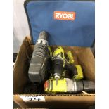 (4) electric drills with charger and battery, (3) Ryobi (1) Drill master