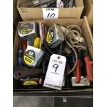 Lot: Misc. hand tools- tape measures, pliers, shears, gnorling tools, and putty knives