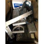 Lot: Misc. tools- tap set, grease gun, plate magnets, glue guns, hand saws, etc.
