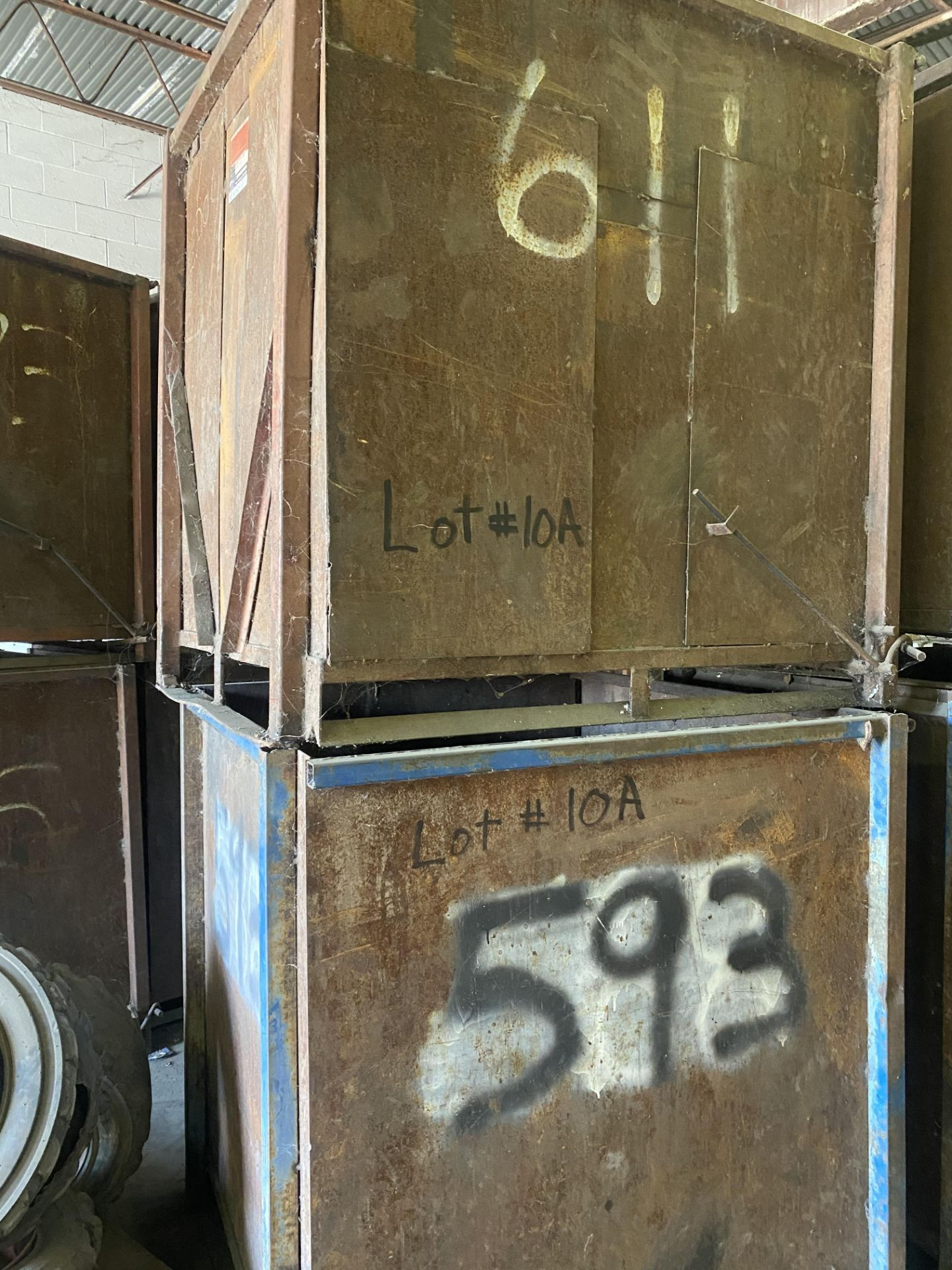 Lot 10A - Lot of (2) Steel Can Hoppers