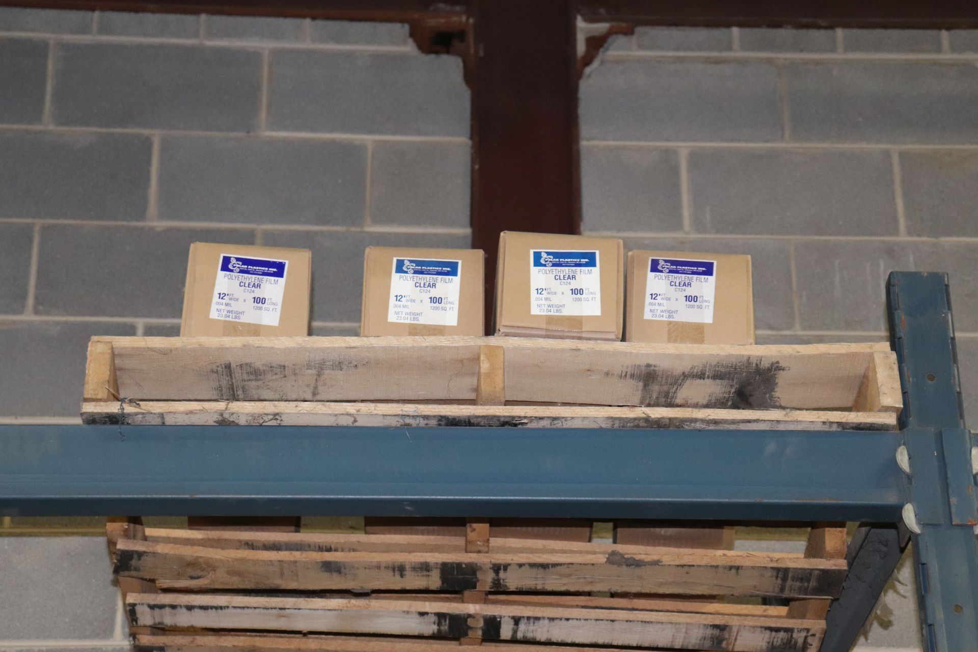 Lot 453 - Four boxes of polyurethane film, clear, 12' x 100'