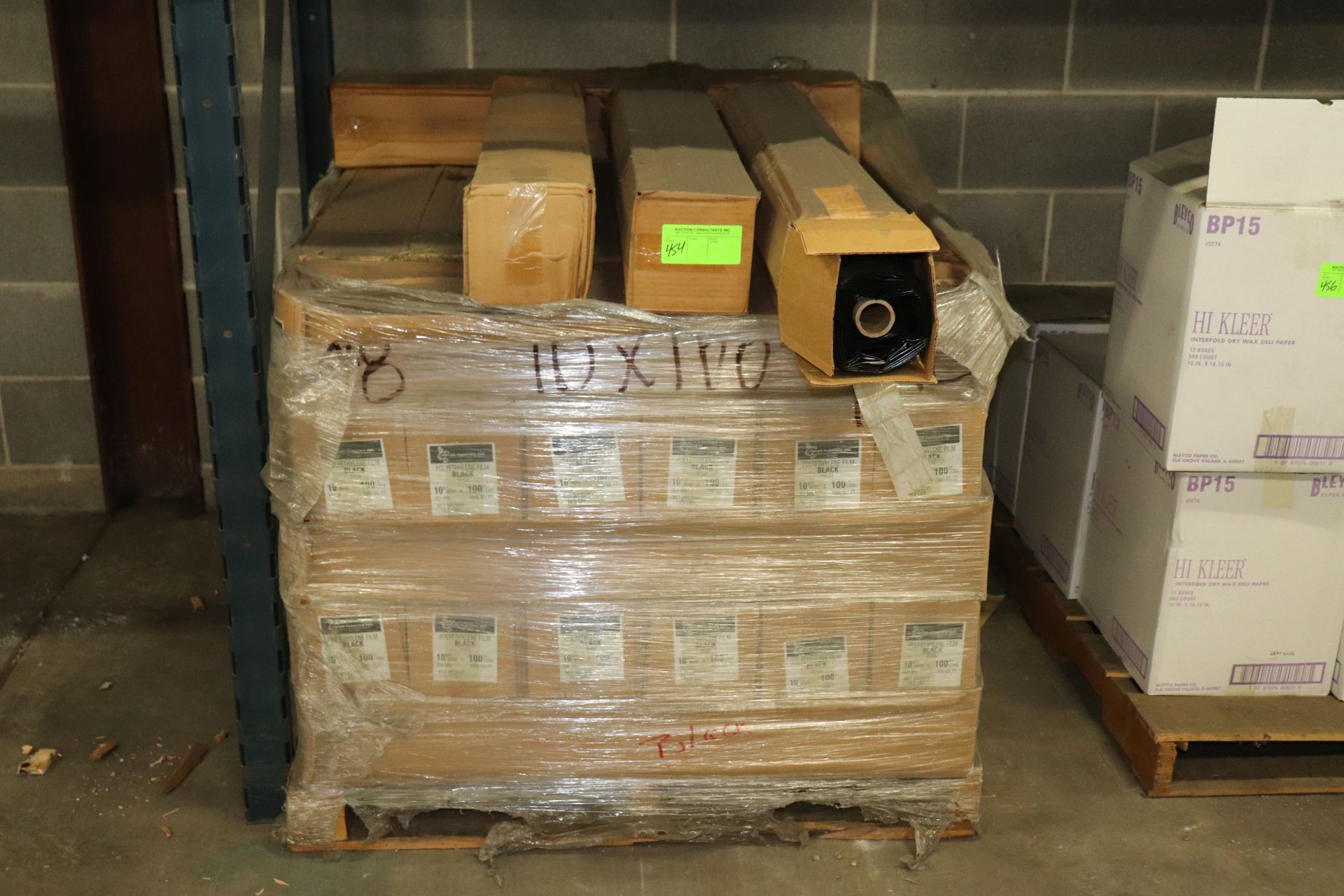 Lot 454 - Pallet of polyurethane film, black, 10' x 100', approximately 34 boxes