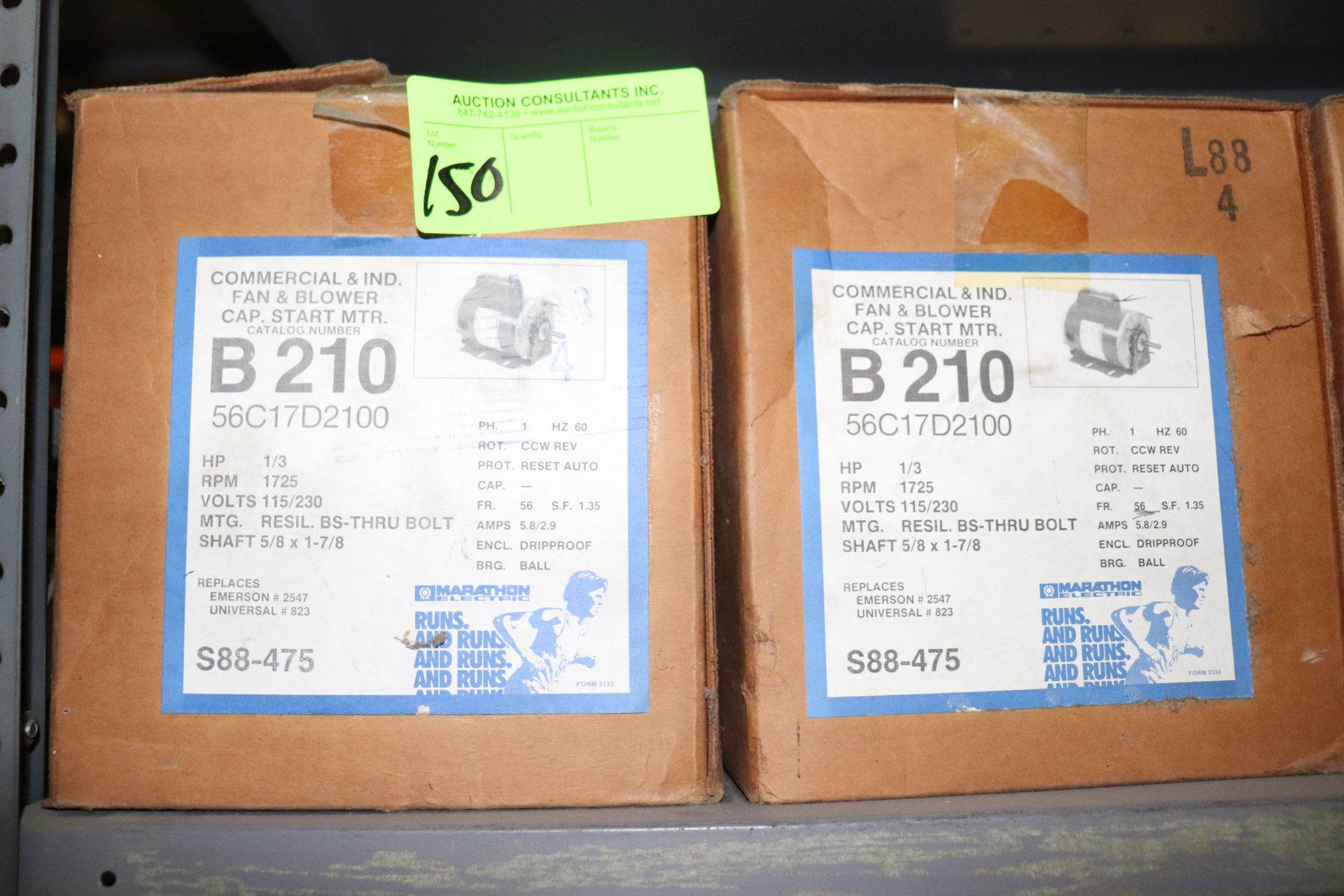 Lot 150 - Two commercial and IND fan and blower cap start motors, 1/3hp