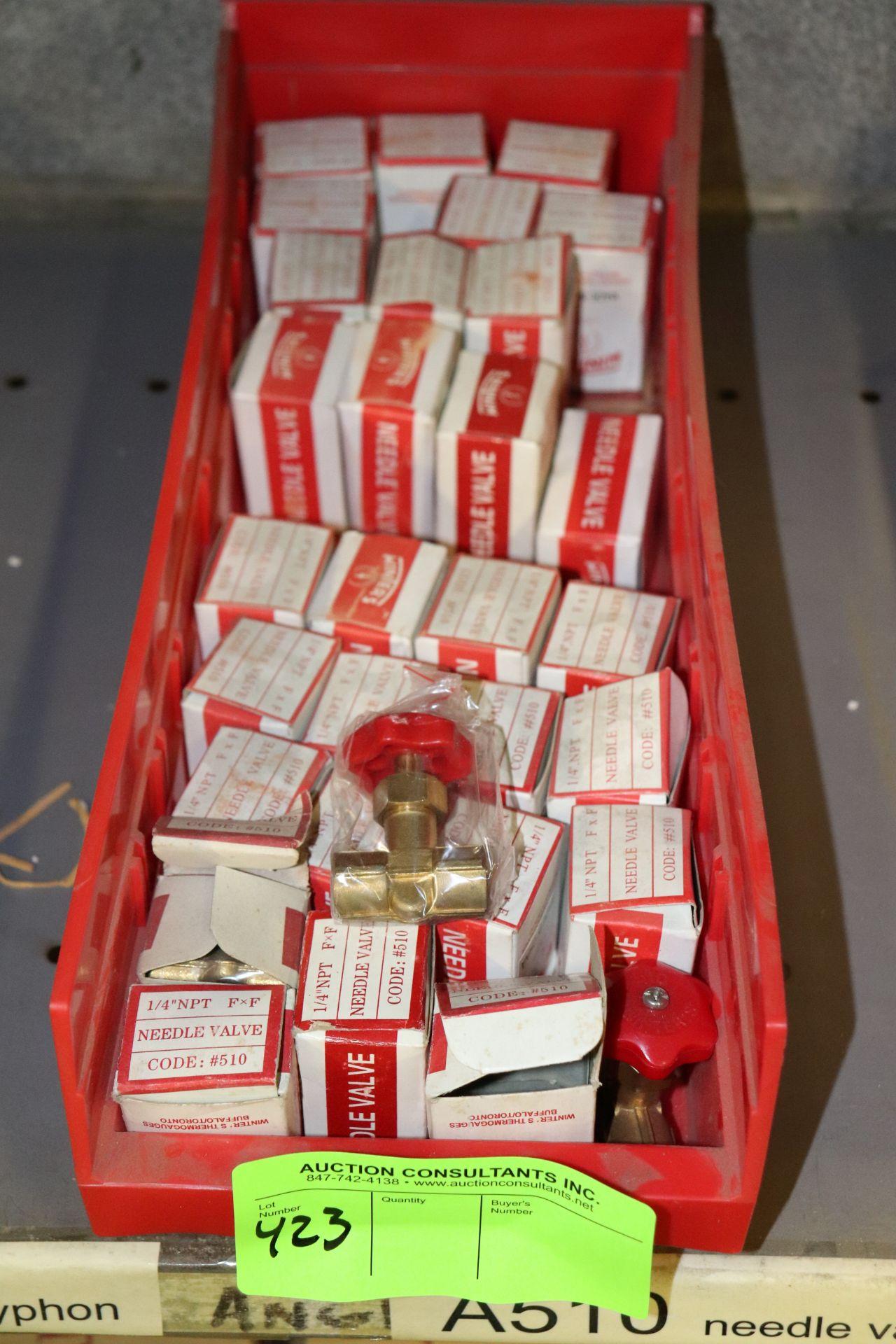 """Lot 424 - Bin of 1/4"""" npt Needle valves"""