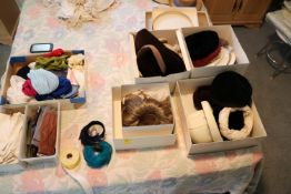 Group: gloves, hats, wig, shoes and doilies
