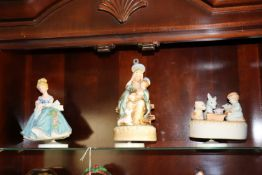 """Group of three porcelain musical figurines, tallest 7"""""""