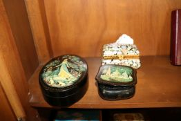 Two lacquer boxes and one porcelain box
