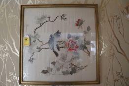 Pair of Japanese paintings on silk depicting birds and foliage, matted and framed, approximate size