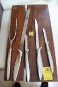 Gerber Snickersnee vintage carving set with walnut boxes