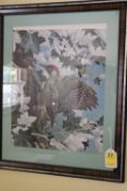 """Two framed pictures of birds, approximate size 21"""" x 25"""""""