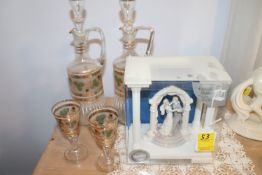 Group: Welton porcelain figure depicting bride and groom dancing, pair of decanters and two wine gla