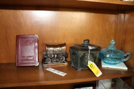 Group: two penny bank urns, colored glass