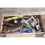 Box lot of pry bars, hammers, tape measures, hacksaws, and miscellaneous