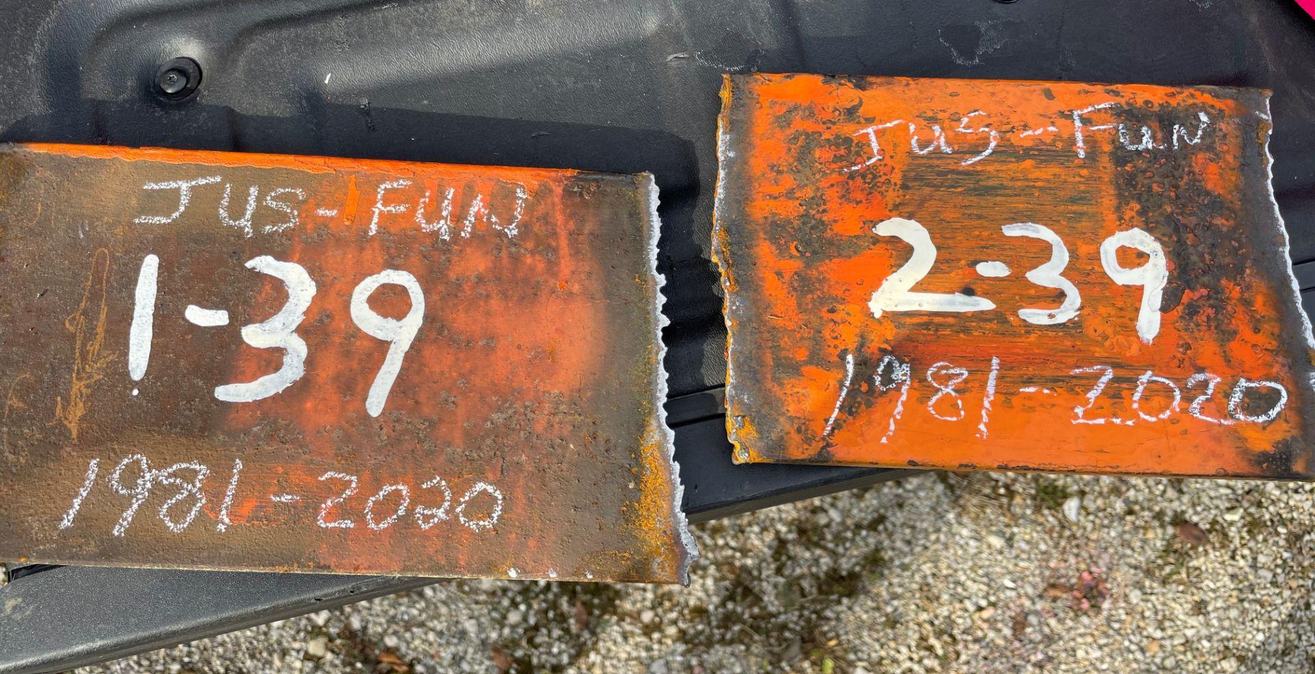 "2 of 39 commemorative 8"" piece of Jus-Fun Go-kart guard rail"