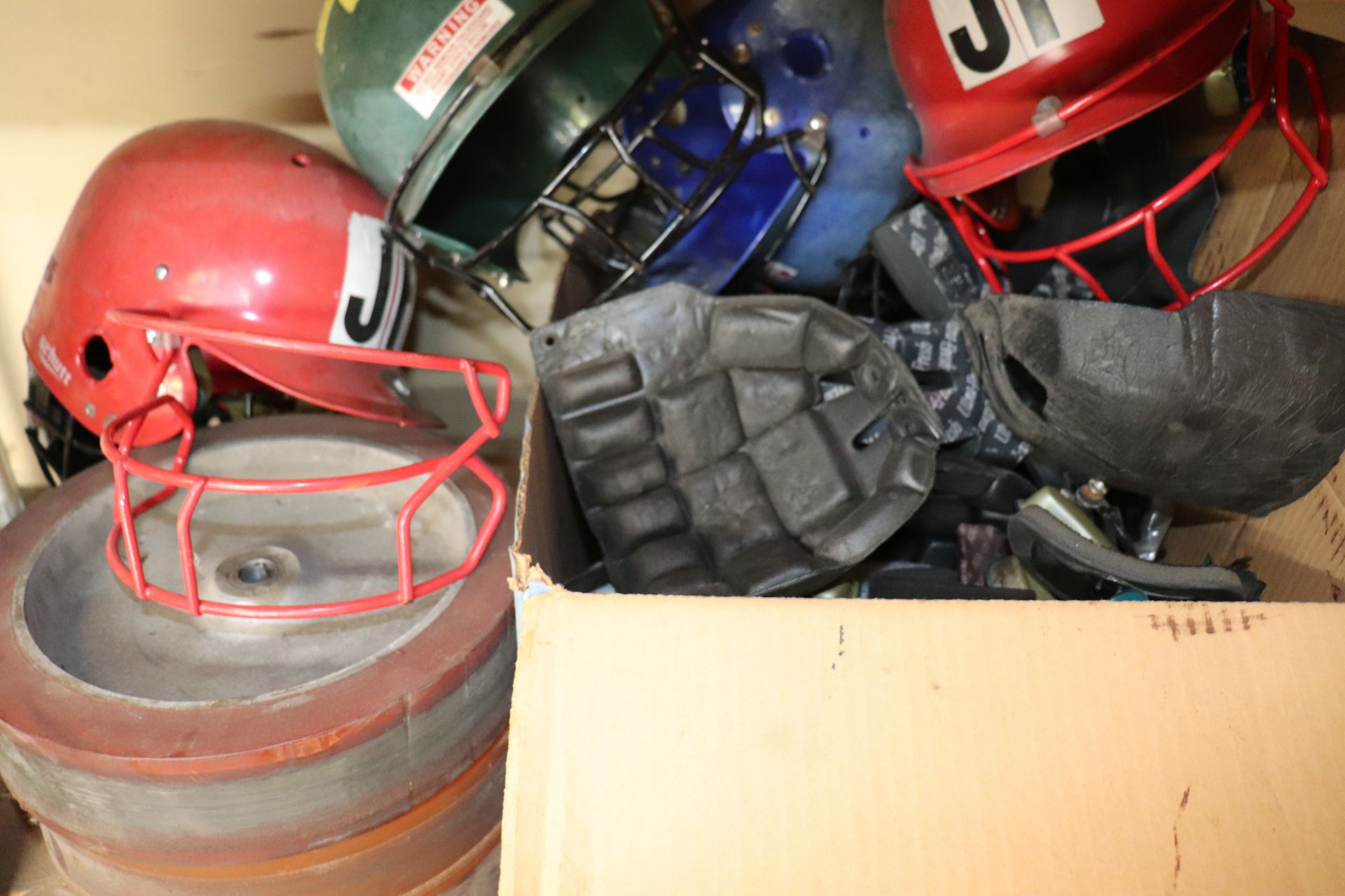 Miscellaneous ABC automatic batting cage parts including token mechs, vibration bearings, motor shaf