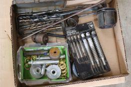 Box lot of drill bits, hole saws, masonry bits, and miscellaneous