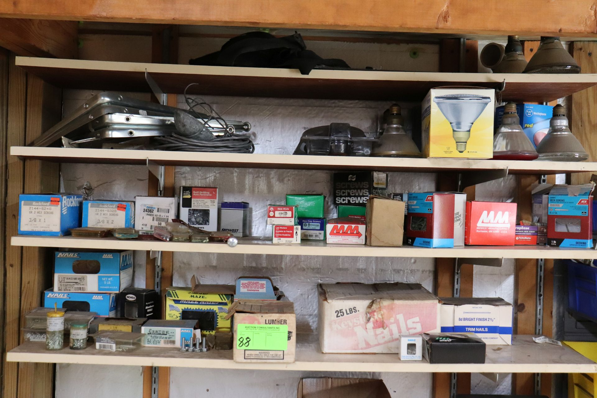 Miscellaneous hardware, fasteners and bulbs